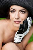Elegant woman with Football Goalkeeper Glove — Стоковое фото
