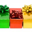 Gift boxes with bow isolated on white background — Stock Photo