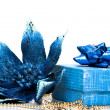 Gift box wth Christmas flower poinsettia - Stockfoto