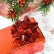 Red gift box with Christmas tree - Foto Stock