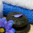 Cream, stones and towel with flowers - Stok fotoraf