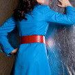 Stock Photo: Elegant fashionable woman in blue jacket