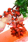 Gift box with european holly — Стоковое фото