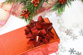 Red gift box with Christmas tree — Stok fotoğraf