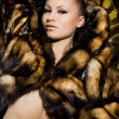 Beautiful woman in a fur coat — Photo