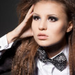 Stock Photo: Elegant fashionable woman with bow-tie