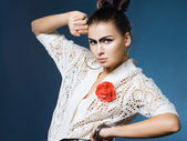 Fashion woman with black eyebrows — Stock Photo