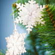 Branch of Christmas tree with snowflake - Foto Stock