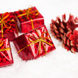 Gift boxes with pinecone — Photo