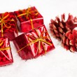 Gift boxes with pinecone — Stock Photo