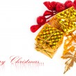 Christmas gift boxes with european holly - Foto Stock