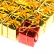 Stock Photo: Festive gift boxes isolated on white background