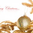 Branch of Christmas tree with festive decoration - Foto Stock