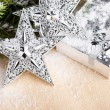 Christmas decoration with gift box - Stockfoto