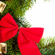 Branch of Christmas tree with ribbon - Stock fotografie