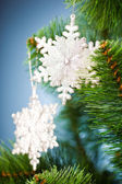 Branch of Christmas tree with snowflake — Stockfoto