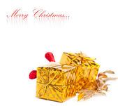 Christmas gift boxes with european holly — Stok fotoğraf
