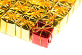 Festive gift boxes isolated on white background — Stock Photo