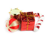 Festive gift box with ball and drum — Stok fotoğraf