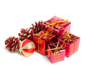 Festive gift boxes with cone isolated on white background — 图库照片