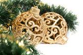 お祝い花輪とのクリスマスの装飾 — ストック写真