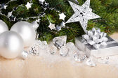 Christmas decoration with gift box — Stock Photo