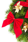 Branch of Christmas tree with ribbon — Stockfoto