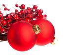 Vánoční dekorace s evropskými holly — Stock fotografie