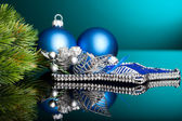 Branch of Christmas tree with festive ball — Foto Stock