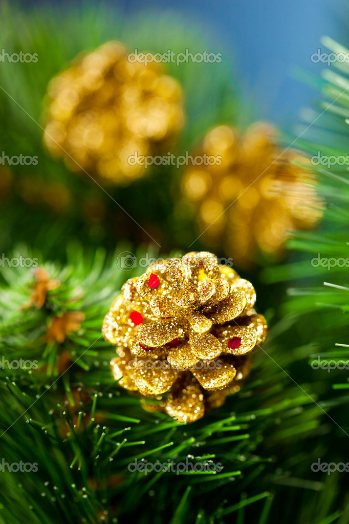 Branch of Christmas tree with pinecone — Stock Photo #4494608