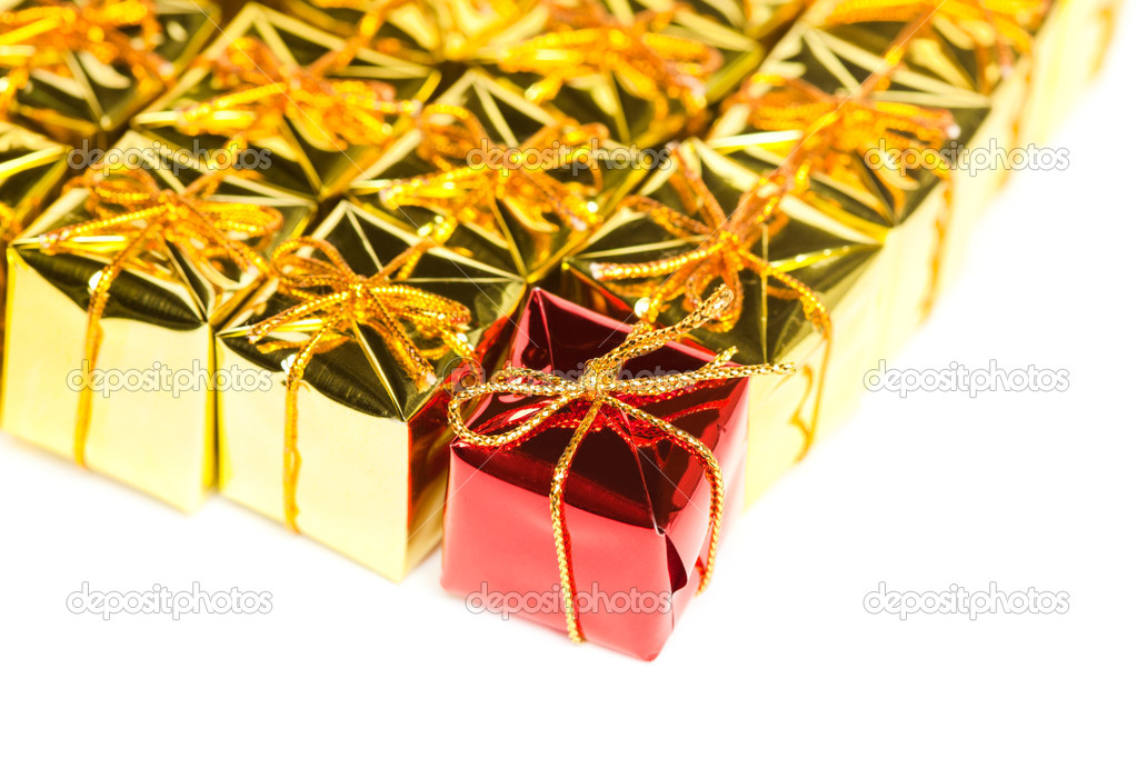 Festive gift boxes isolated on white background — Stock Photo #4494909