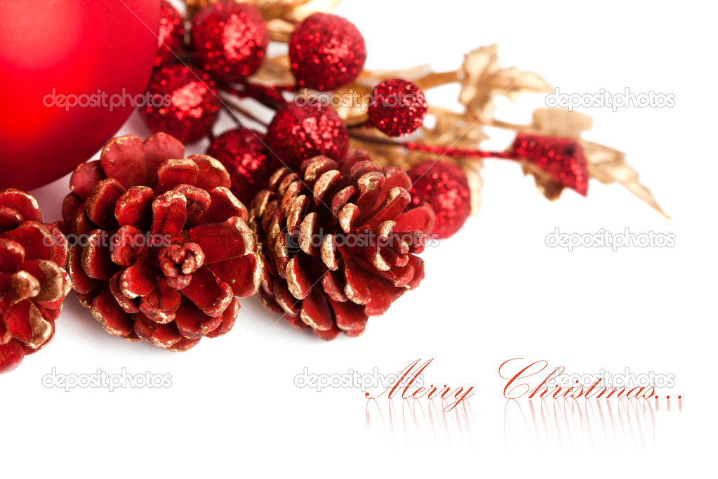 Christmas pinecone with european holly — Stock Photo #4495181