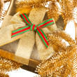 Branch of Christmas tree with gift box - Stok fotoğraf