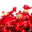Christmas decoration with european holly — ストック写真