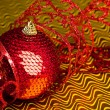 Christmas decoration ball with ribbon — Stock Photo #4506178