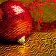 Christmas decoration ball with ribbon — Stock Photo