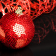 Christmas decoration ball with ribbon - Стоковая фотография