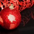Christmas decoration ball with ribbon — Stock Photo