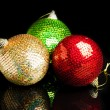 Christmas decorations on black background - Foto Stock