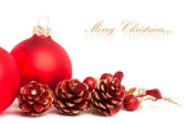 Christmas decoration with european holly — Foto Stock