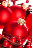 Christmas decoration with european holly — Stockfoto