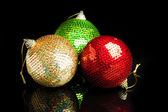 Christmas decorations on black background — Stock Photo