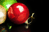 Christmas decorations on black background — Stok fotoğraf