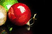 Christmas decorations on black background — Stock Photo