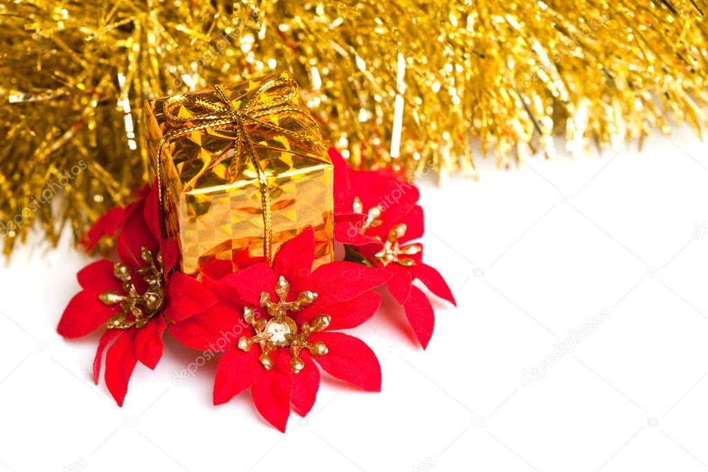 Christmas gift boxes with red poinsettia  Stock Photo #4505109