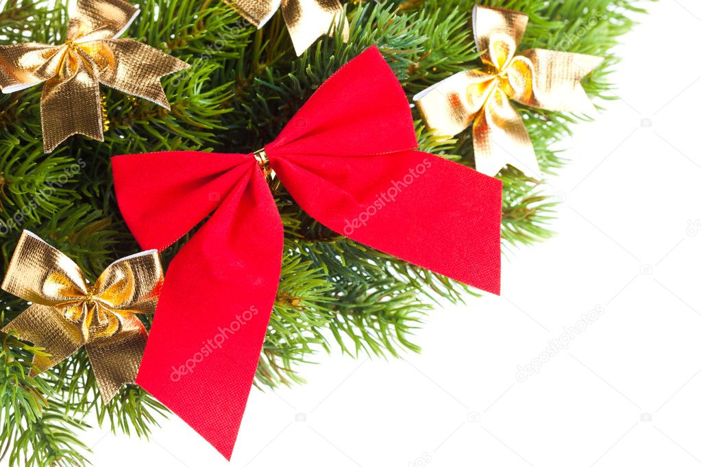 Branch of Christmas tree with ribbon  Stock Photo #4506027