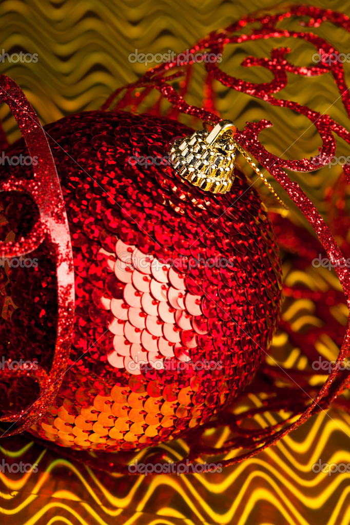 Christmas decoration ball with ribbon — Stock Photo #4506180