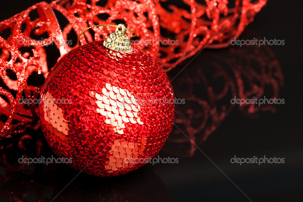 Christmas decoration ball with ribbon  Stock Photo #4506185