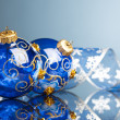 Christmas decoration balls with ribbon — Stock fotografie