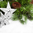 Branch of Christmas tree with stars — Stock Photo